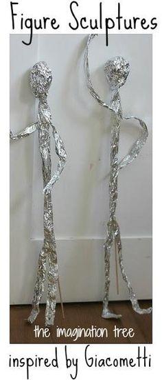 aluminum foil sculptures a la Giacometti