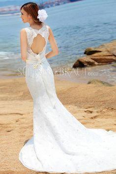Glitze Schleife Spitzen Meerjungfrau Hochzeitskleid mit Kapelle-Schleppe [#UD8890] - schoenebraut.com