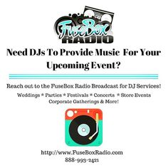 If you need a DJ or 2 for your upcoming event for the upcoming spring and summer season - party, family reunion, wedding, engagement party, corporate event, festival, concert, pop up shop, exercise class, community event, bar/lounge events, store openings, showcases, exercise events, etc. - in the Washington, DC Metro area and beyond (East Coast of the U.S. and so forth), contact the FuseBox Radio Broadcast for DJ Services!  We have plenty of flexible packages that can fit your needs with…