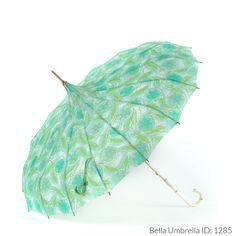 Umbrella ID 1285 | Pale Blue, Aqua and Lime Floral Pattern Pagoda  | Ivory Hook…