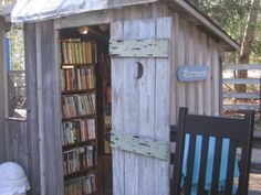 Books in the outhouse? Put 'em where they will be read.  (Book Barn in Niantic, CT)
