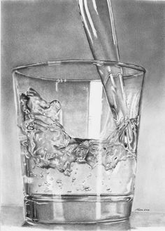 Glass of water Drawing - Glass of water Fine Art Print