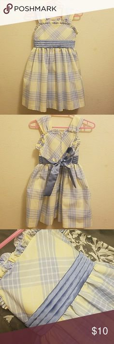 Little Girl Plaid Dress Yellow and blue stripped/plaid little girl dress with a ribbon above the waist line. Super cute! Never worn, in New condition.  Brand for views only. Carter's Dresses Formal