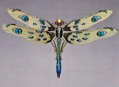 Incredible Art Nouveau dragonfly Louis Aucoc, French, c. 1900 - Platinum, gold…