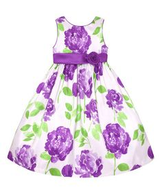 Look at this #zulilyfind! Lilac & Green Rose A-Line Dress - Infant, Toddler & Girls #zulilyfinds