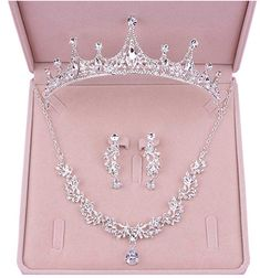 Ever Girl Bling Bride Hair Accessories Tiaras Earrings Necklace Wedding Sets Wedding Jewelry Sets, Wedding Sets, Bride Tiara, Princess Jewelry, Headpiece Jewelry, Fancy Jewellery, Bride Hair Accessories, Bridal Necklace, China