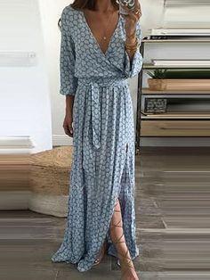 V-Neck Plain Maxi Dresses #bohosummer #SummerIsHere #fashion #amazingvalue #bohochic affiliate
