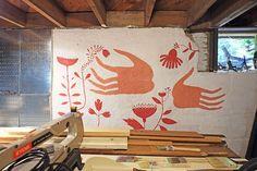Elsa Mora - wall decoration in her basement studio