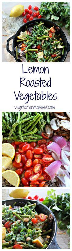 Lemon Roasted Vegetables over Rice.