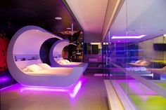 Awesome Bedrooms, Cool Rooms, Neon Bedroom, Bedroom Decor, Dream Rooms, Dream Bedroom, Futuristic Interior, Futuristic Bedroom, Retro Interior Design