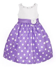 Take a look at this Lilac & White Polka Dot Dress - Girls today!