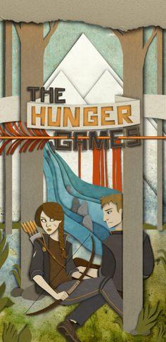 Layered paper depiction of #KatnissEverdeen and #PeetaMellark in #TheHungerGames.