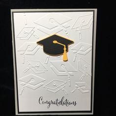 Darice embossing folder, Quickutz Graduation Cap die-cut.  Close To My Heart stamp