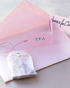 Tea Party – For a more civilized bridal shower – attach an actual tea bag to invite