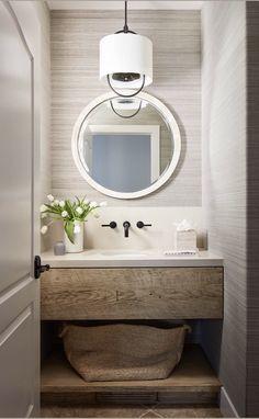 Powder Room Vanity (no wall paper) Powder Room Vanity, Powder Room Decor, Powder Room Design, Powder Room Lighting, Bad Inspiration, Bathroom Inspiration, Downstairs Bathroom, Small Bathroom, Seaside Bathroom