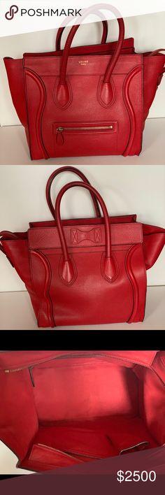 Celine Mini Luggage Handbag in Drummed Calfskin MINI LUGGAGE HANDBAG IN  DRUMMED CALFSKIN WITH LEATHER HANDLES 63207f44b3
