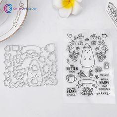 Stamp & Die Set Cartoon Bear & Flower Set Ali Express (Waffle Flower)