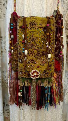 Handmade Gypsy Fringe Tassel Cross Body Bag Beads Hippie Boho Hobo Purse tmyers #Handmade #MessengerCrossBody