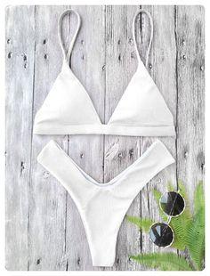 43f09e76d7 Textured High Cut Padded Plunge Bikini Set (White)