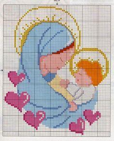 Hobby lavori femminili - ricamo - uncinetto - maglia: madonnina cuori punto croce
