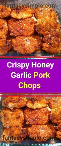 Crunchy Honey Garlic Pork Chops Recipe Ingredients: pork chops (not too thick, you can use boneless pork loin) 2 eggs 4 Tbs water 2 cups flour 1 tsp. garlic powder Canola or vegetable oil for frying chops Glaze 1 cup Brown Sugar Pork Chops, Honey Garlic Pork Chops, Honey Glazed Pork Chops, Omelette, Barbecue Pork Ribs, Pork Chop Recipes, Recipes With Pork Loin Chops, Chops Recipe, Pork Dishes