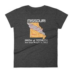 "#Women's Short Sleeve #T-Shirt : ""Missouri"" PATH of TOTALITY Solar Eclipse August 21, 2017"