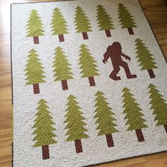 """I couldn't decide between Bigfoot and Sasquatch, so we're just going to call this quilt Legendary, #legendaryquilt #ehpacificfabric"""