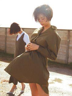 佐久間由衣×Lily Brown[リリー ブラウン](2016年3月号p72) Lily Brown シャツワンピース ¥9,800(+税)