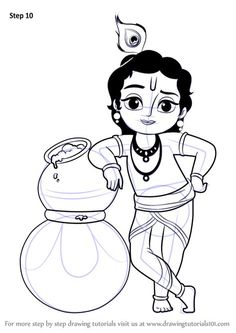 How to Draw Bal Krishna step by step, learn drawing by this tutorial for kids and adults. Art Drawings For Kids, Outline Drawings, Art Drawings Sketches Simple, Pencil Art Drawings, Cute Drawings, Children Drawing, Drawing Art, Simple Drawings For Kids, Monkey Drawing