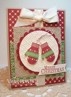 by Vicki Burdick: Be of Good Cheer dsp, Make a Mitten, Builder Punch, Scallop Circle punch, bakers twine