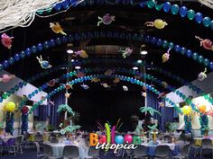 Amazing under the sea themed decor for a whole ballroom. Mermaid Under The Sea, Under The Sea Theme, Under The Sea Party, Balloon Wall, Balloon Arch, Balloons, Minnie Mouse, Ballon Decorations, Underwater Theme