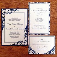 """Erin  Chuck"" Navy Wedding Invitation...it'd be better in black  white damask and crimson! :)"