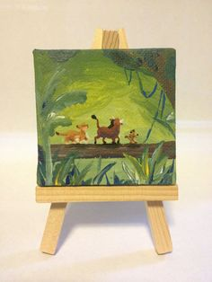 Original Acrylic Painting - 100% hand painted  Includes the mini canvas!!    Inspired by Disneys The Lion King  Great to show off your Disney
