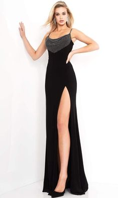 Look your absolute best as you show up in this Jovani 03251 creation. Draped on the bodice with a polkadot accent, this gown features spaghetti straps stringing the scoop neckline bodice. Lace up details ties at its open back. A high slit is accented with a high slit as it columns into a sheath silhouette with a train. Be the belle of this black-tie affair in this Jovani masterpiece. Black Tie Affair Dresses, Black Prom Dresses, Formal Dresses, Long Sleeve Evening Gowns, Trumpet Dress, Terani Couture, Mermaid Gown, Beaded Lace, Couture Dresses