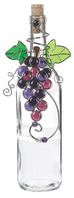 Purple Grape Cluster Metal Bottle Decoration