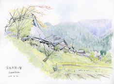 2015-4-16 「大原の里の春 」 23x31cm  鉛筆 (15-050)大原の里を随分歩き回って結局、最初に描いた草生町が好きなのでアングルを変え...