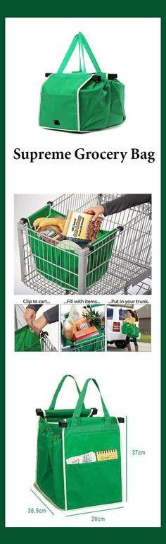 Supreme Grocery Bag. The Ultimate Grocery Bag is the last grocery bag you will ever need!       Clips onto shopping cart     Folds flat for easy storage     Holds up to 18kg (40 lbs)  No more plastic shopping bags that rip. These eco-friendly reusable grocery bags expand to hold up to 40 lbs of groceries. Each bag clips onto the side of your shopping cart, so you can add items quickly and easily.