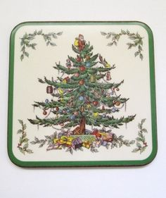 Vintage Spode Christmas Tree Set of 6 Drink Coasters in Box Acrylic Cork