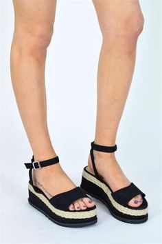 9917f5e0f1 DREAM GIRL Braided Espadrille Wedge Sandals - Black Suede - AJ Voyage - 1  Tie Up