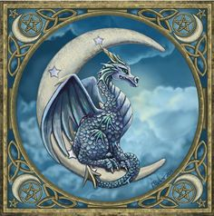 Moon Dragon Cross Stitch Pattern - Counted Cross Stitch Patterns - Celtic, Pagan, Fantasy and more, Here Be Dragons! Counted Cross Stitch Patterns, Cross Stitch Designs, Cross Stitch Embroidery, Embroidery Patterns, Hand Embroidery, Fantasy Creatures, Mythical Creatures, Dragon Moon, Blue Dragon