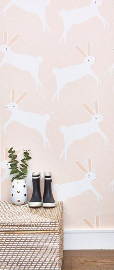 """""""Leaping Bunnies"""" wallpaper by Stacie Bloomfield available at Chasing Paper Girl Nursery, Girls Bedroom, Nursery Decor, Bunny Nursery, Nursery Ideas, Studio Decor, Deco Addict, Big Girl Rooms, Kids Rooms"""
