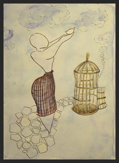 Cage Free Original one of a kind by TremblingRhymes on Etsy Fantasy Women, Bird Cage, Art Online, Watercolor And Ink, Seas, Appreciation, Art Photography, Vintage World Maps, Original Paintings