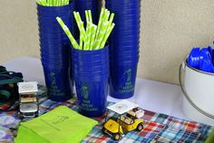 preppy golf party personalized cups and napkins- I also like the plaid!