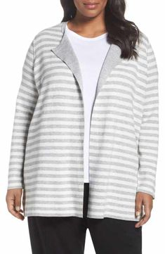 Eileen Fisher Reversible Organic Cotton Blend Cardigan (Plus Size)