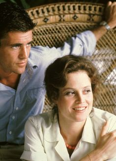 """Mel Gibson & Sigourney Weaver on the set of """"The Year of Living Dangerously"""" ~ 1982"""