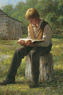 """""""Joseph Smith sought scriptural knowledge while acting as the Lord's instrument in restoring the Gospel. He pondered the scriptures, asked inspired questions, and acted upon what he lea… Lds Pictures, Church Pictures, Arte Lds, Joseph Smith History, Lds Art, Doctrine And Covenants, Church History, Lds Church, Scripture Study"""