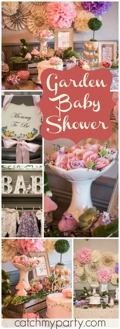 So many beautiful details at this enchanted garden baby shower! See more party ideas at CatchMyParty.com!