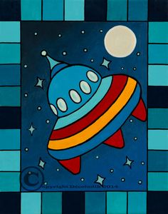 Prints on canvas flying saucer by Decoludik on Etsy Flying Saucer, Kids Room Art, Arts And Crafts, Symbols, Canvas, Prints, Handmade, Etsy, Handmade Gifts