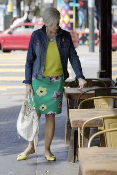 Patterned pencil skirt, bright colors, denim jacket
