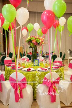Balloons, Streamers and floral ideas for a party